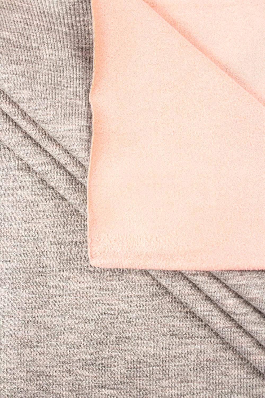 Knit - Double Sided Jersey - Alpen Fleece - Cotton/Suede - Grey & Salmon Pink - 155 cm - 350 g/m2