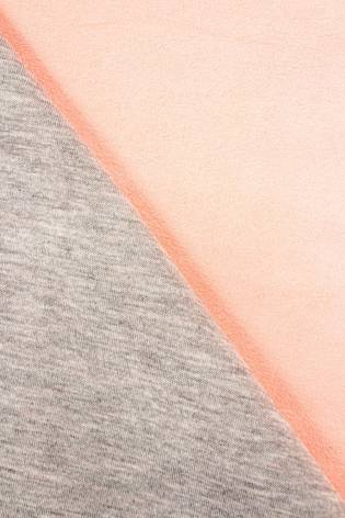 Knit - Double Sided Jersey - Alpen Fleece - Cotton/Suede - Grey & Salmon Pink - 155 cm - 350 g/m2 thumbnail