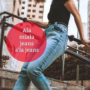 """✂🥰Ala uszyła wygodne spodnie z materiału imitującego jeans:  👌✨w pasie wygodna guma, 👌✨po bokach dwie ukośne kieszenie, 👌✨z tyłu bez kieszeni.   Bądź jak Ala i upoluj na """"dzianej"""" grupie na Fb materiał a'la jeans!👀  Co Ty na to? • . . . #dziane #jeans #alajeans #spodnie #szycie #krawcowa #maszynadoszycia #szycie #szyciezpasją #szycienamaszynie #szycie"""